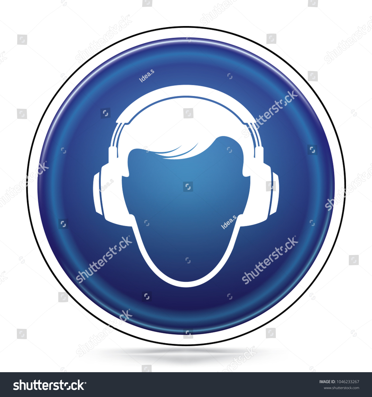 International Mandatory Ear Protection Symbol Blue Stock Vector