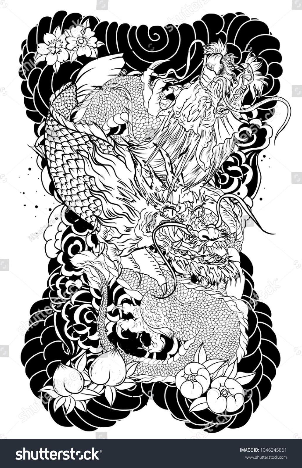 Silhouette Dragon Koi Dragon Fish Lotus Stock Vector