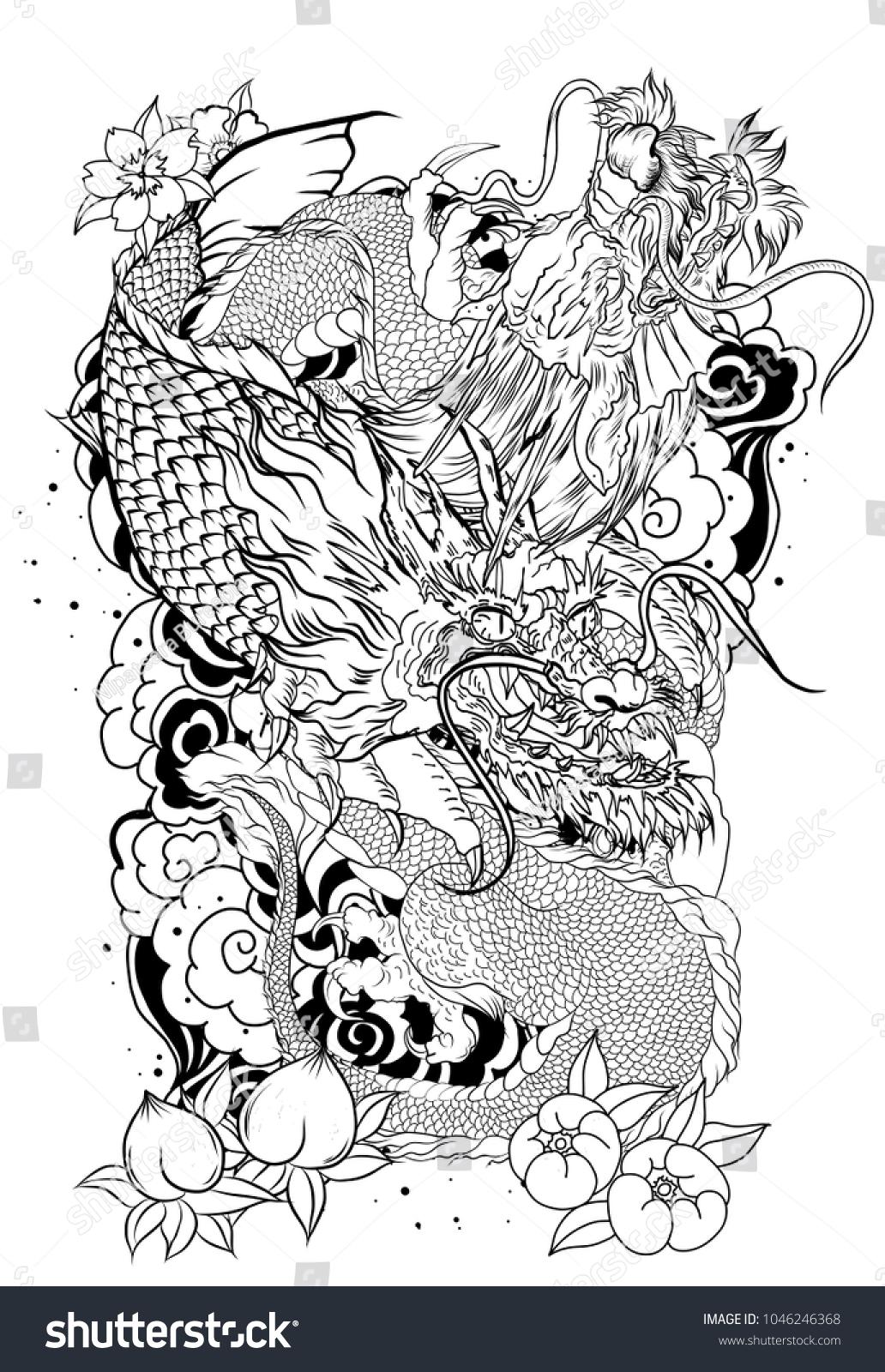 Silhouette dragon koi dragon lotus flower stock vector 1046246368 silhouette dragon with koi dragon and lotus flower tattooach with sakura and plum flower izmirmasajfo