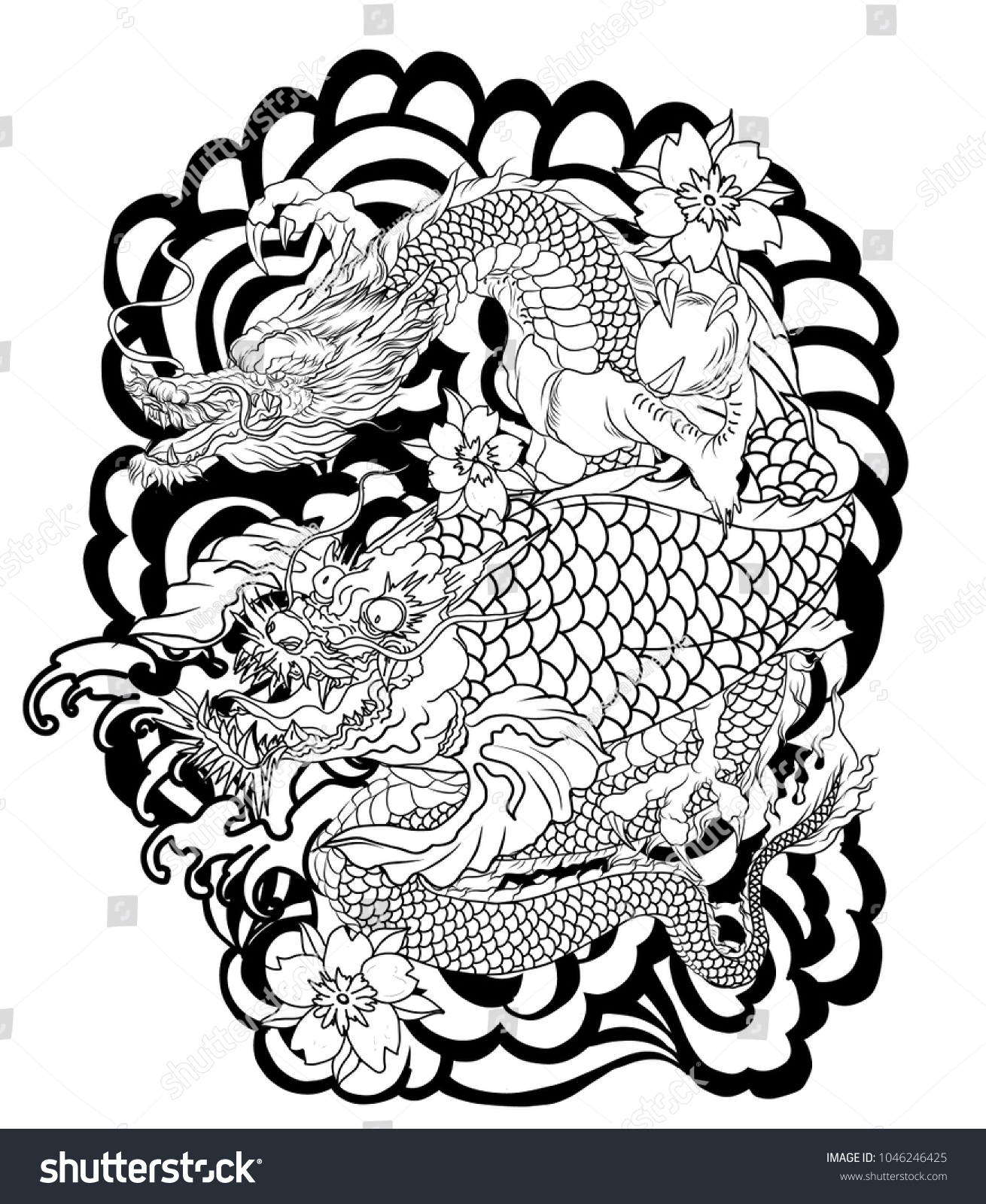 Dragon Koi Dragon Lotus Flower Tattoopeach Stock Vector Royalty