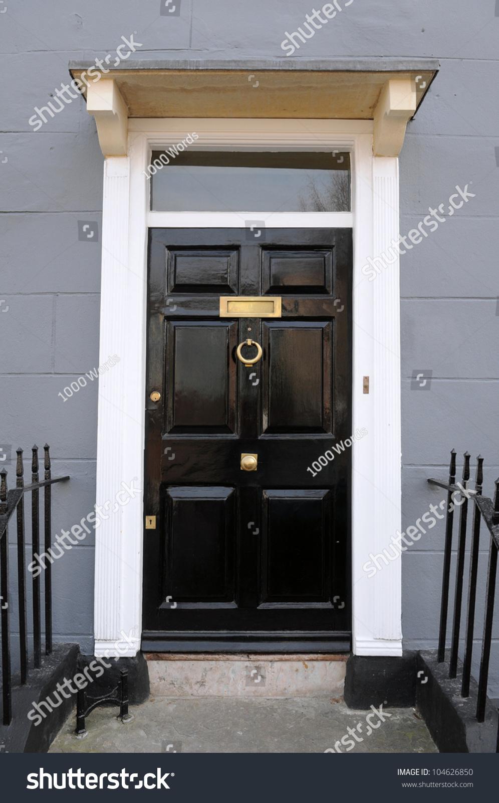 Front Door Beautiful Georgian Era London Stock Photo - Beautiful georgian house in london