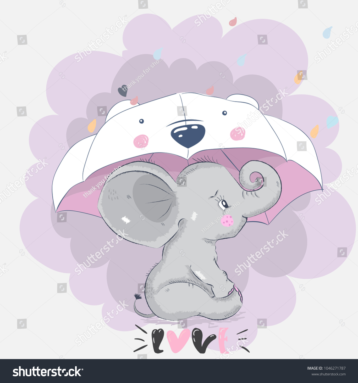 Greeting picture mms picture cute cartoon stock vector 1046271787 greeting picture for mms picture cute cartoon elephant kristyandbryce Gallery