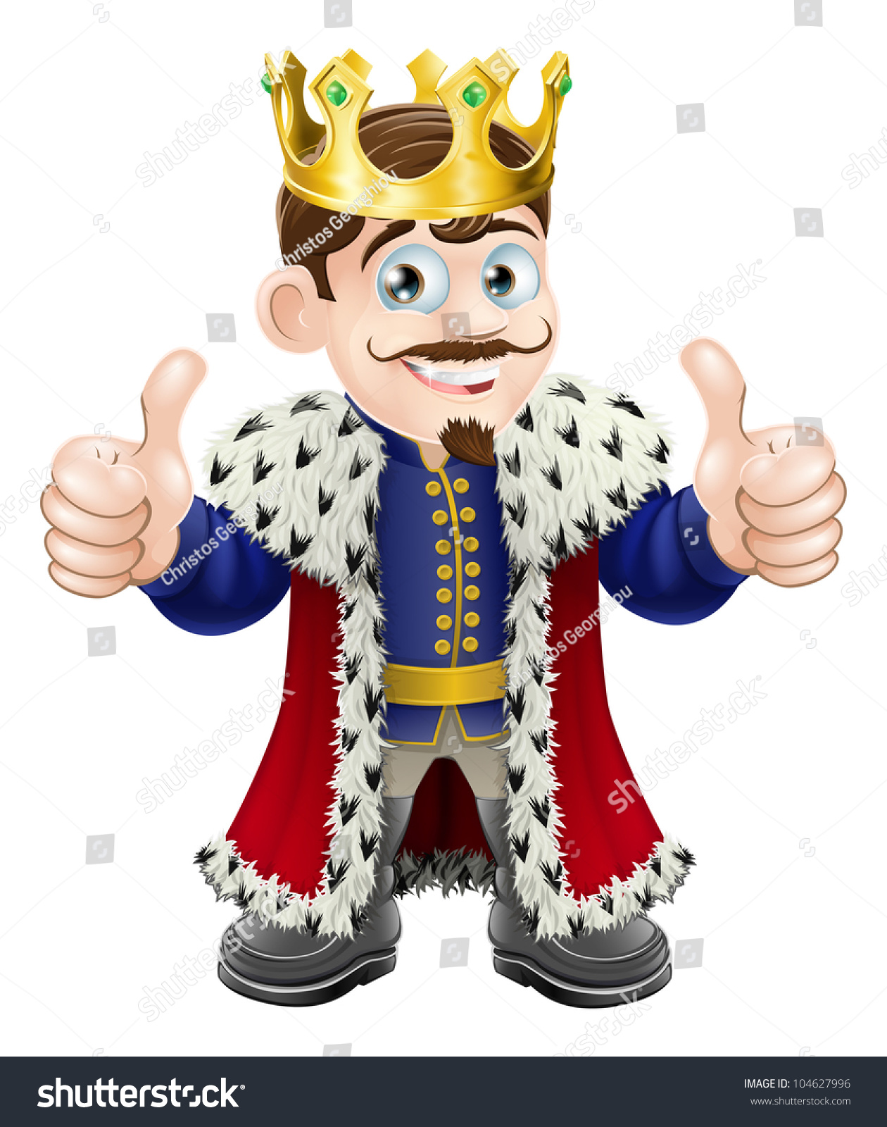 Cartoon Illustration Cute King Crown Cape Stock Vector ...