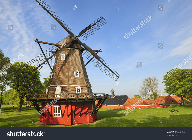 Windmill In Kastellet In Copenhagen. The Old Military Fortress. Denmark
