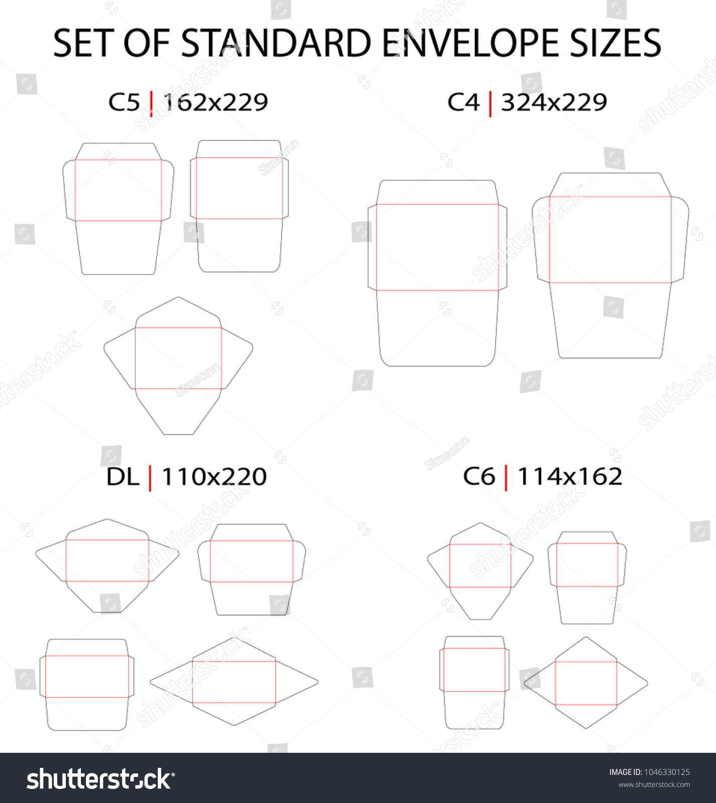 Set 4 Standard Types Envelopes Vector Stock Vector (Royalty Free ...