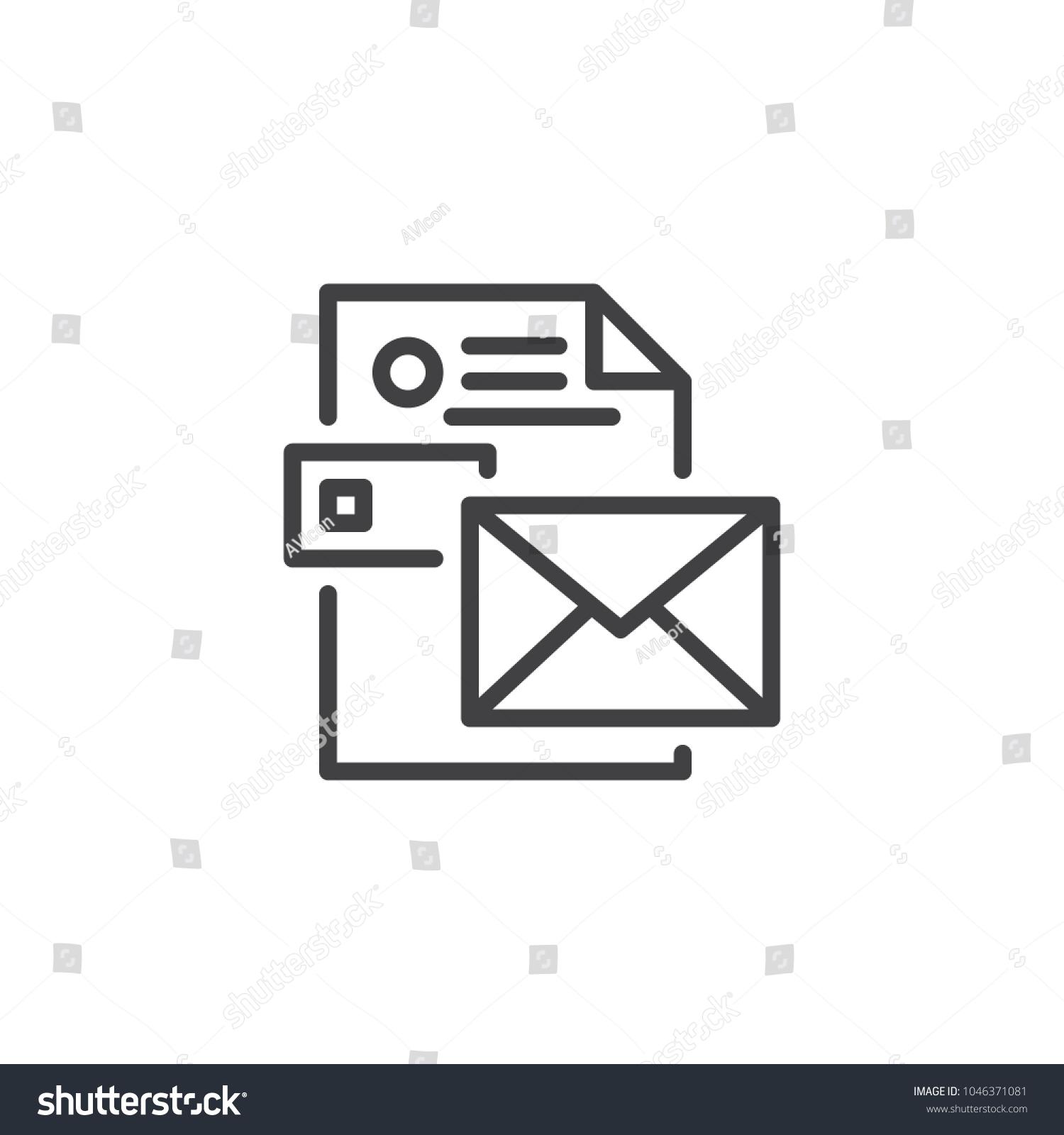 Envelope CV Resume Outline Icon Linear Stock Vector (Royalty Free ...