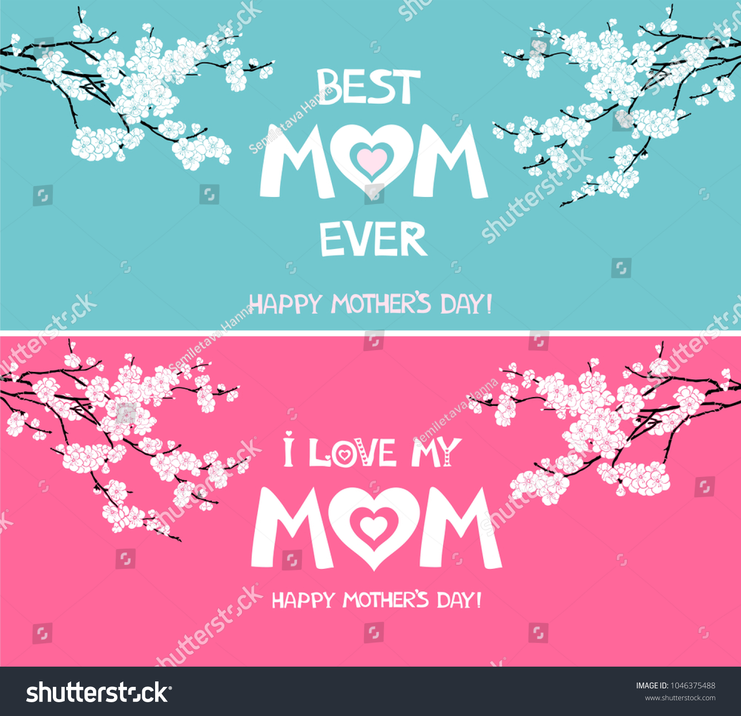 Happy Mother Day Card Love My Stock Vector Royalty Free 1046375488