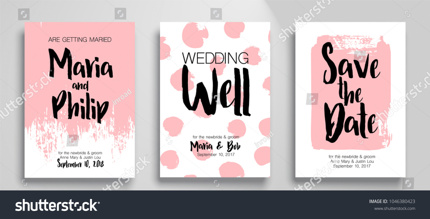 Wedding Invitation Card Suite Templates Cool Stock Vector 1046380423 ...