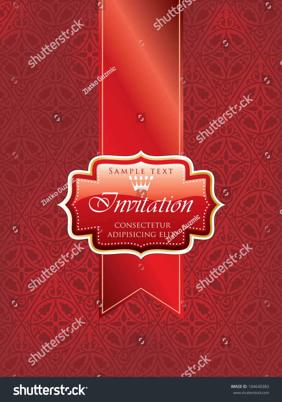 Vector illustration red invitation label on stock vector royalty vector illustration with red invitation label on red tape stopboris Choice Image