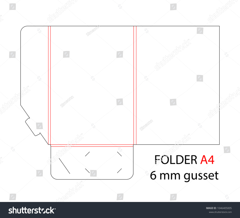 Folder Die Cut Stamp Gusset Empty Stock Vector 1046405005 - Shutterstock