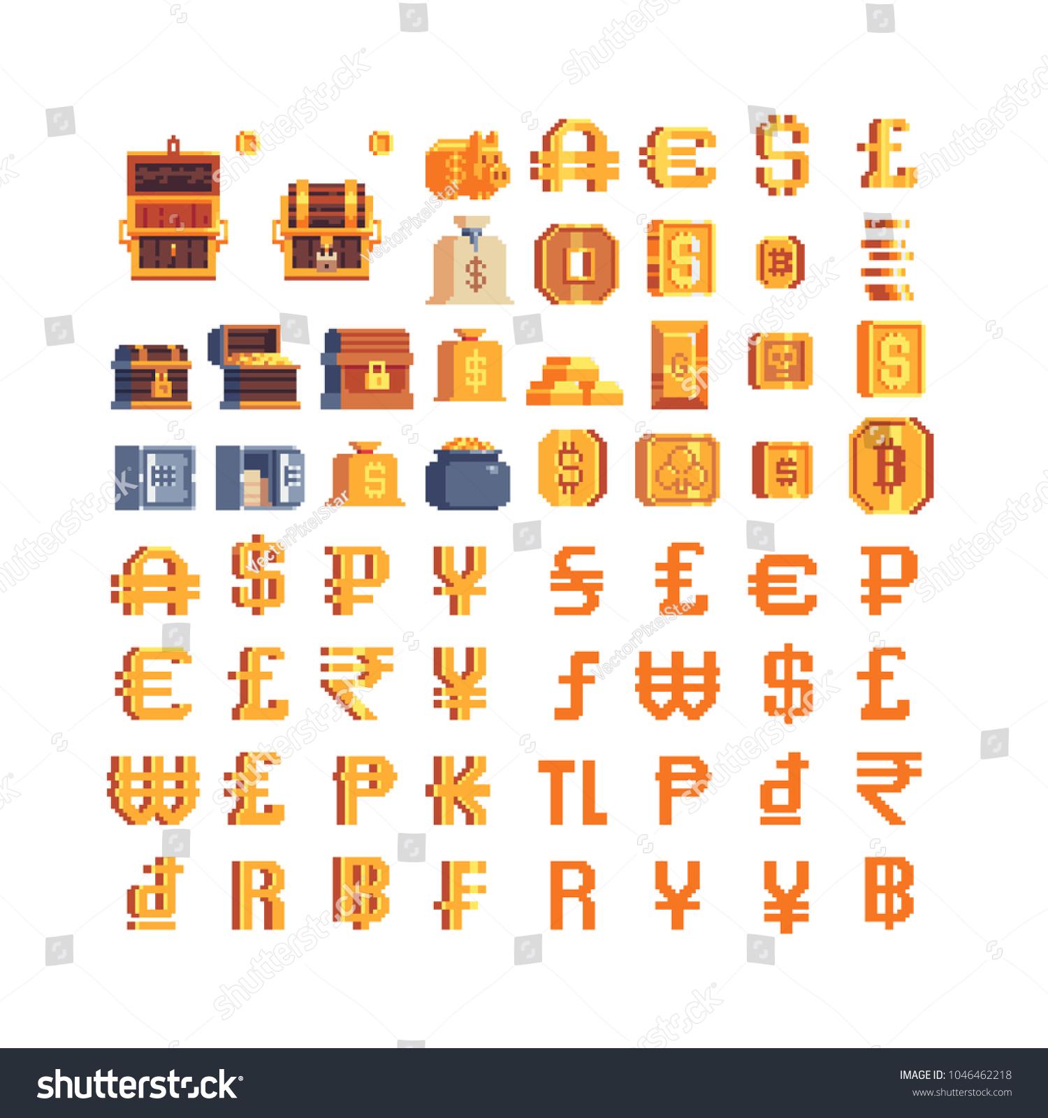 World gold money pixel art icons stock vector 1046462218 shutterstock world gold money pixel art icons set currency symbols dollar bitcoin euro buycottarizona Choice Image