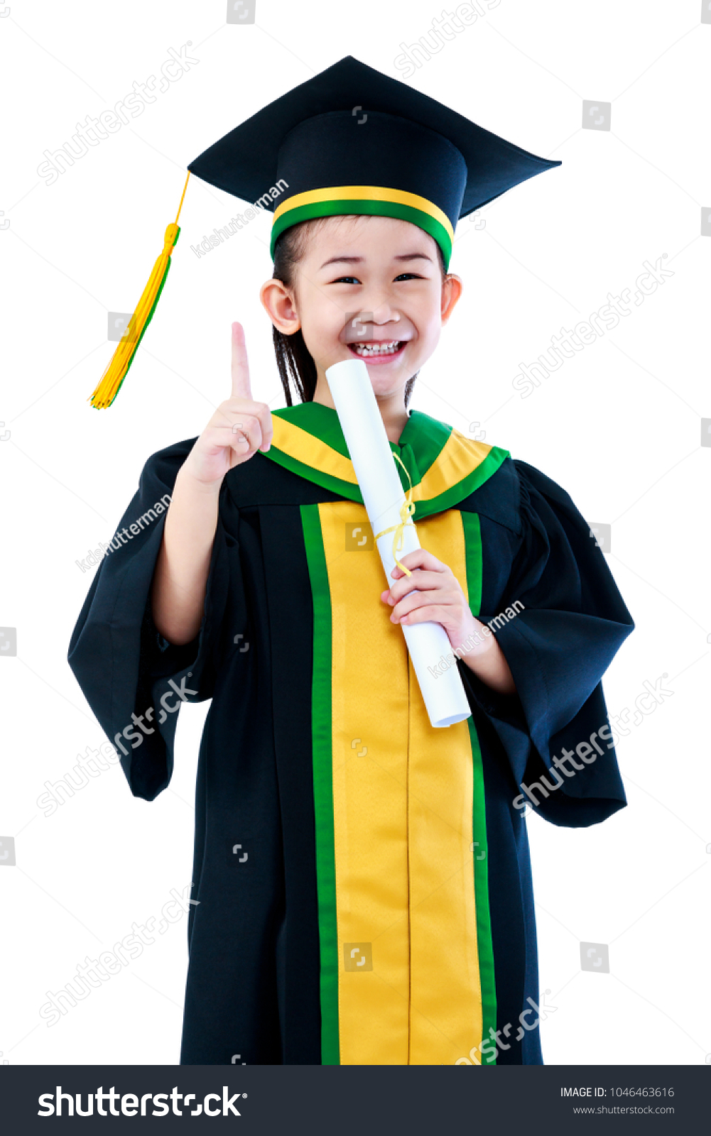 Kindergarten Graduation Asian Child Graduation Gown Stock Photo ...