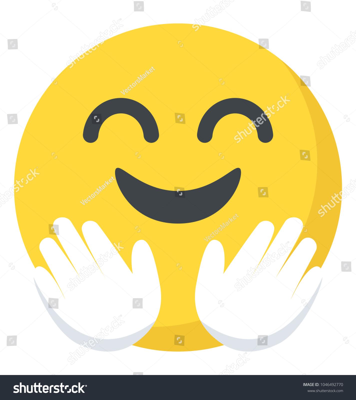 Open Cordial Gesture Hugging Face Emoji Stock Vector Royalty Free