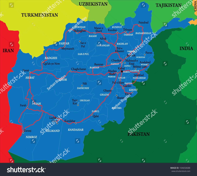 Afghanistan Map Stock Vector Shutterstock - Charikar map