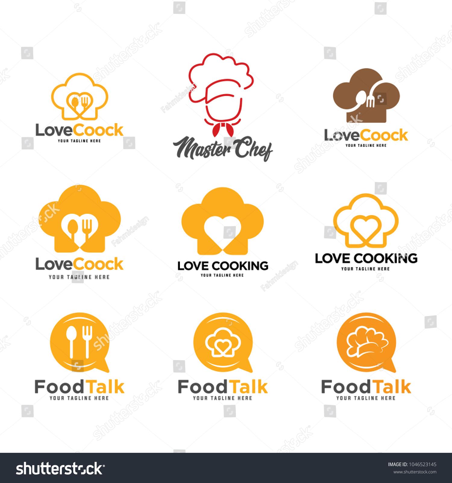 Cooking Logos Set Food Studio Vector Stock Vector Royalty