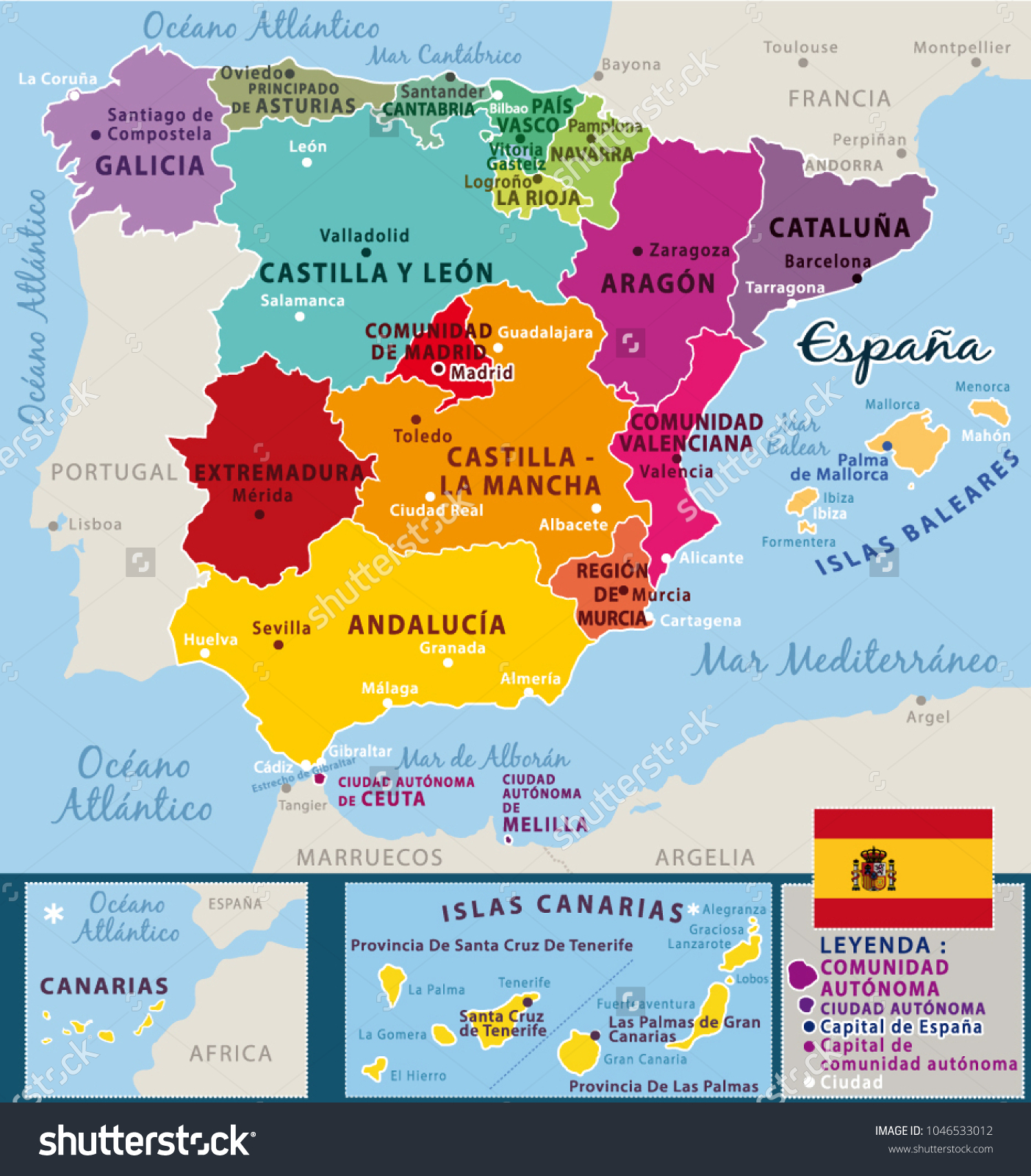 Spain And Africa Map.Colorful Map Spain Spanish Names Regions Stock Vector Royalty Free