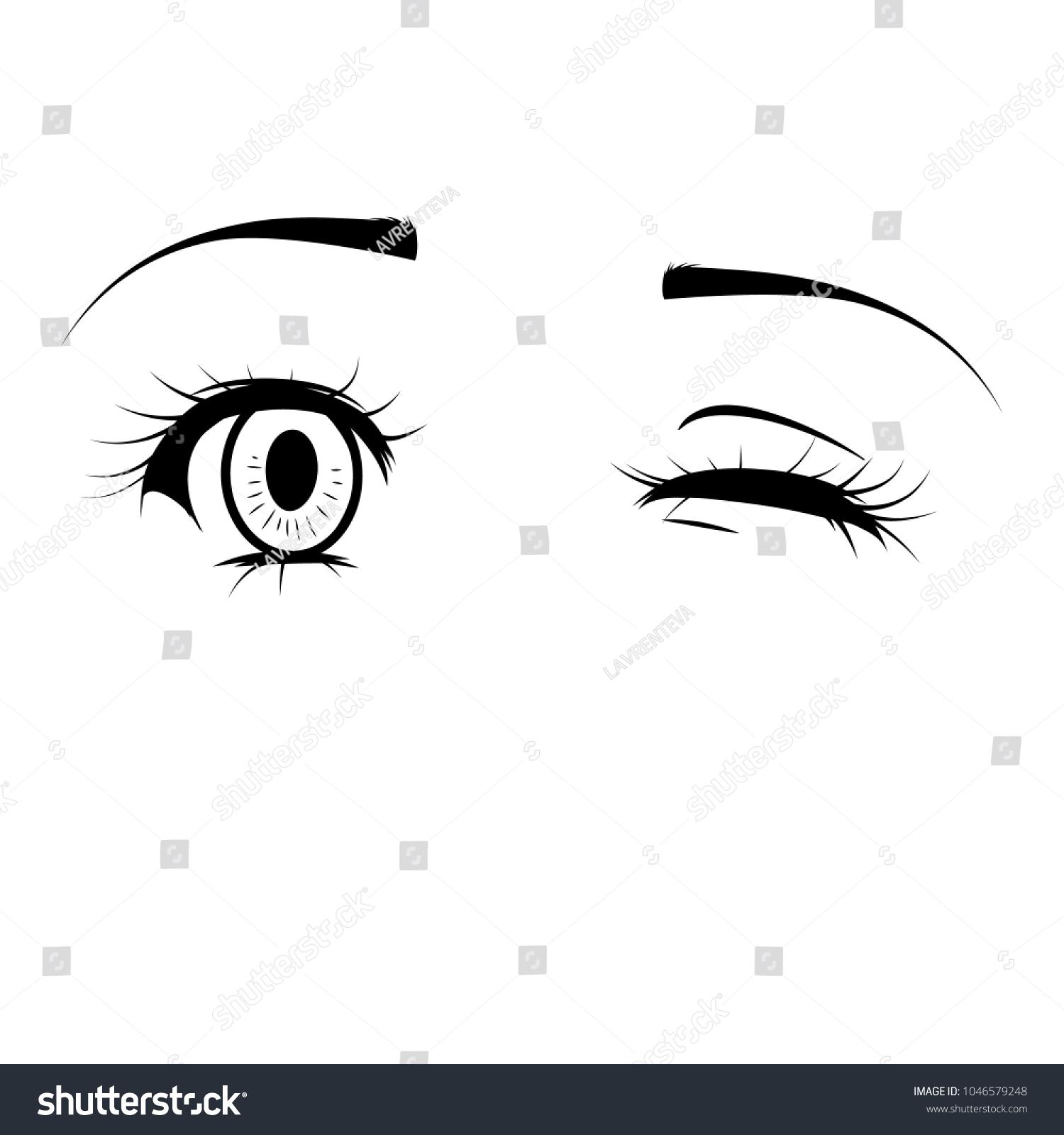 Anime Girl Eyes Eyes On White Stock Vector Royalty Free 1046579248