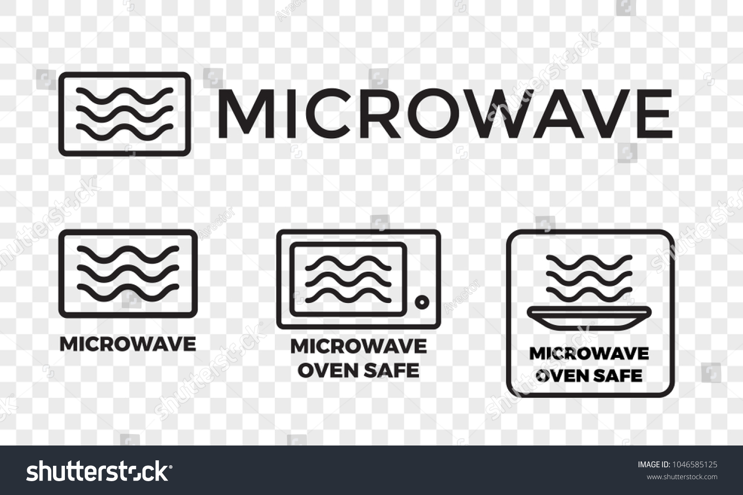 Microwave oven safe icon templates set stock vector 1046585125 microwave oven safe icon templates set vector isolated line symbols or labels for plastic dish buycottarizona