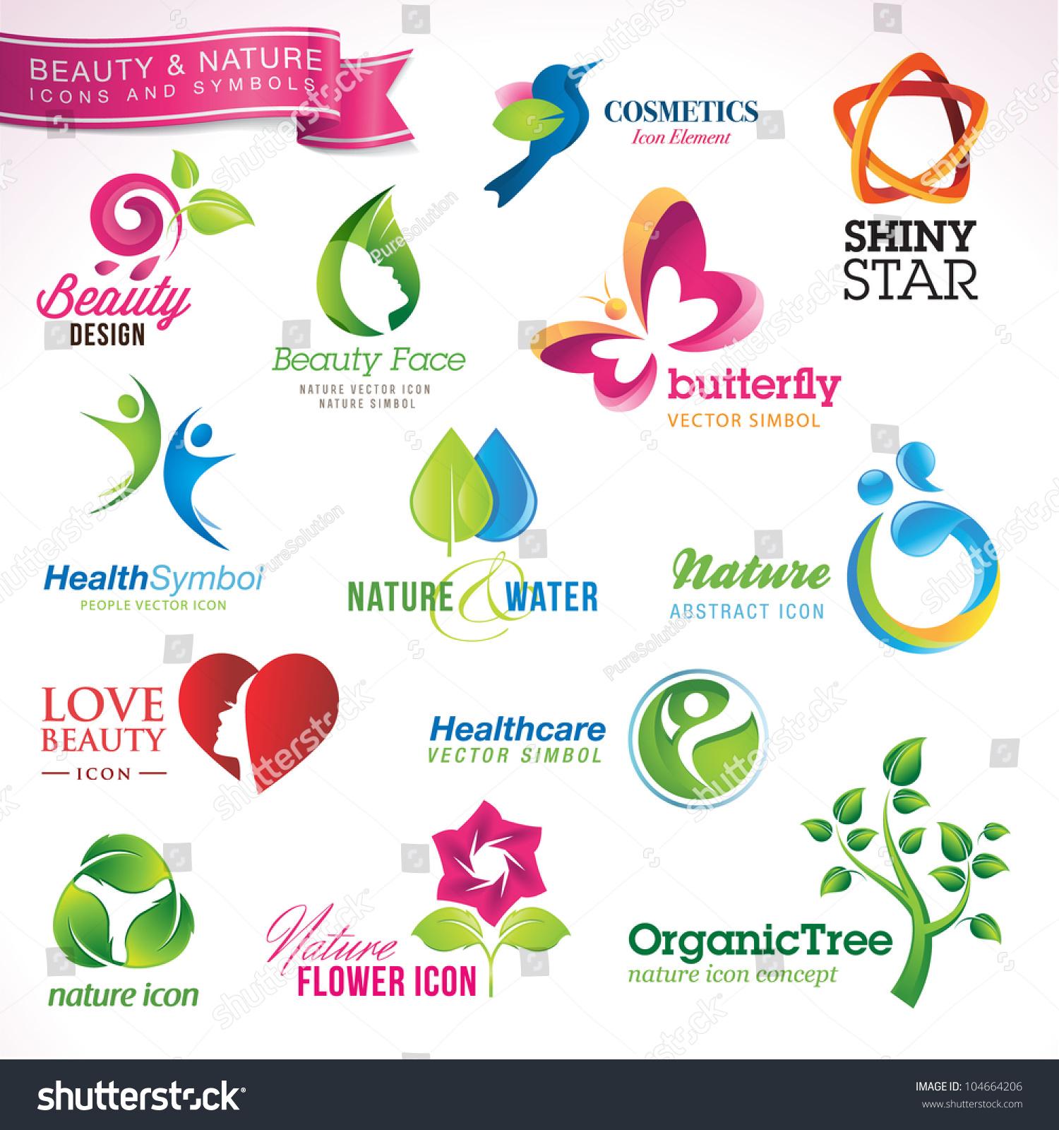 Set Vector Icons Symbols Beauty Nature Stock Vector Royalty Free
