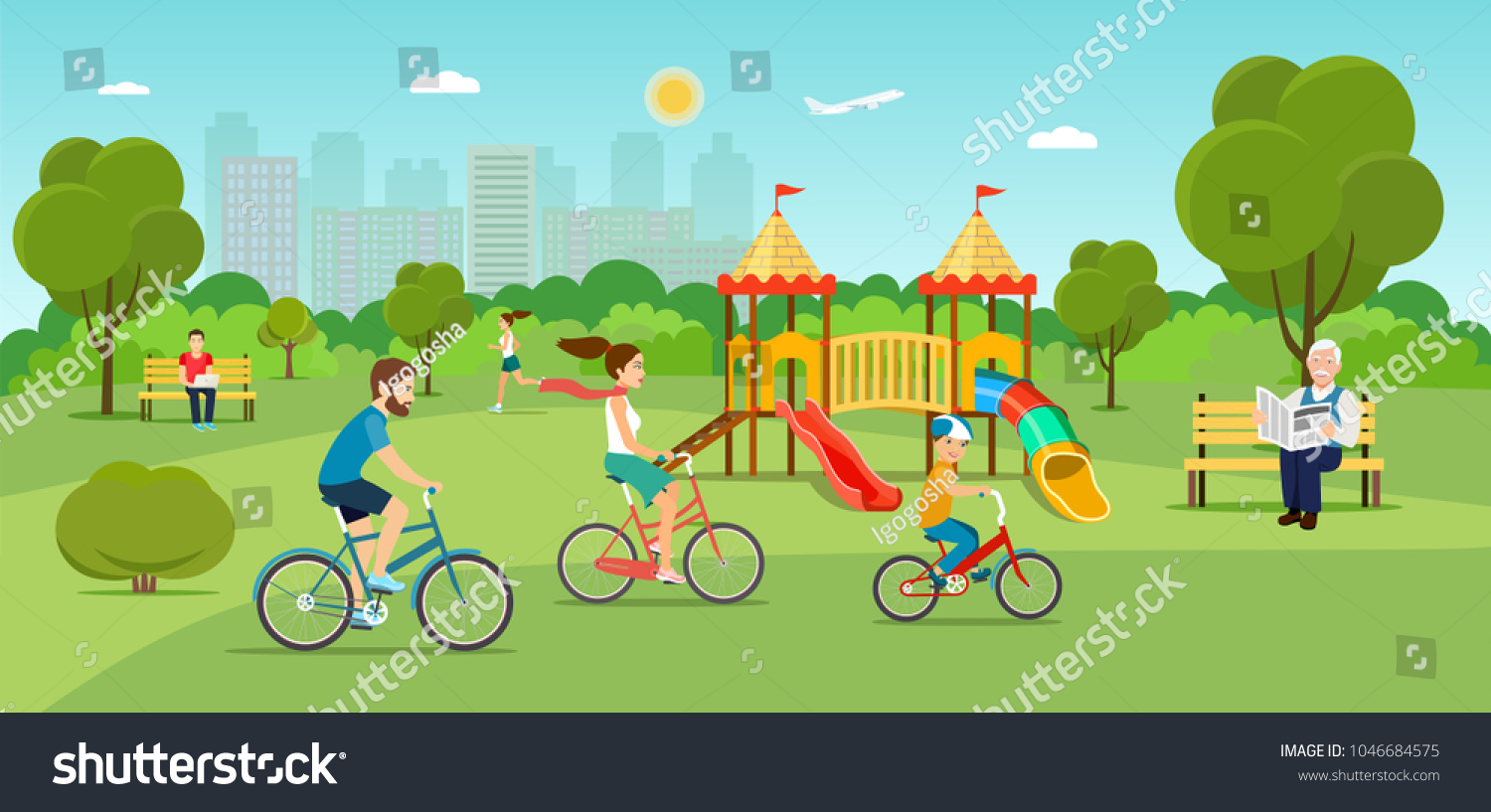 Family riding a bicycle Grandfather sitting on the bench and reading newspaper Young man sitting on the bench and working with laptop and Running girl in the park. Playground. Vector flat illustration #1046684575