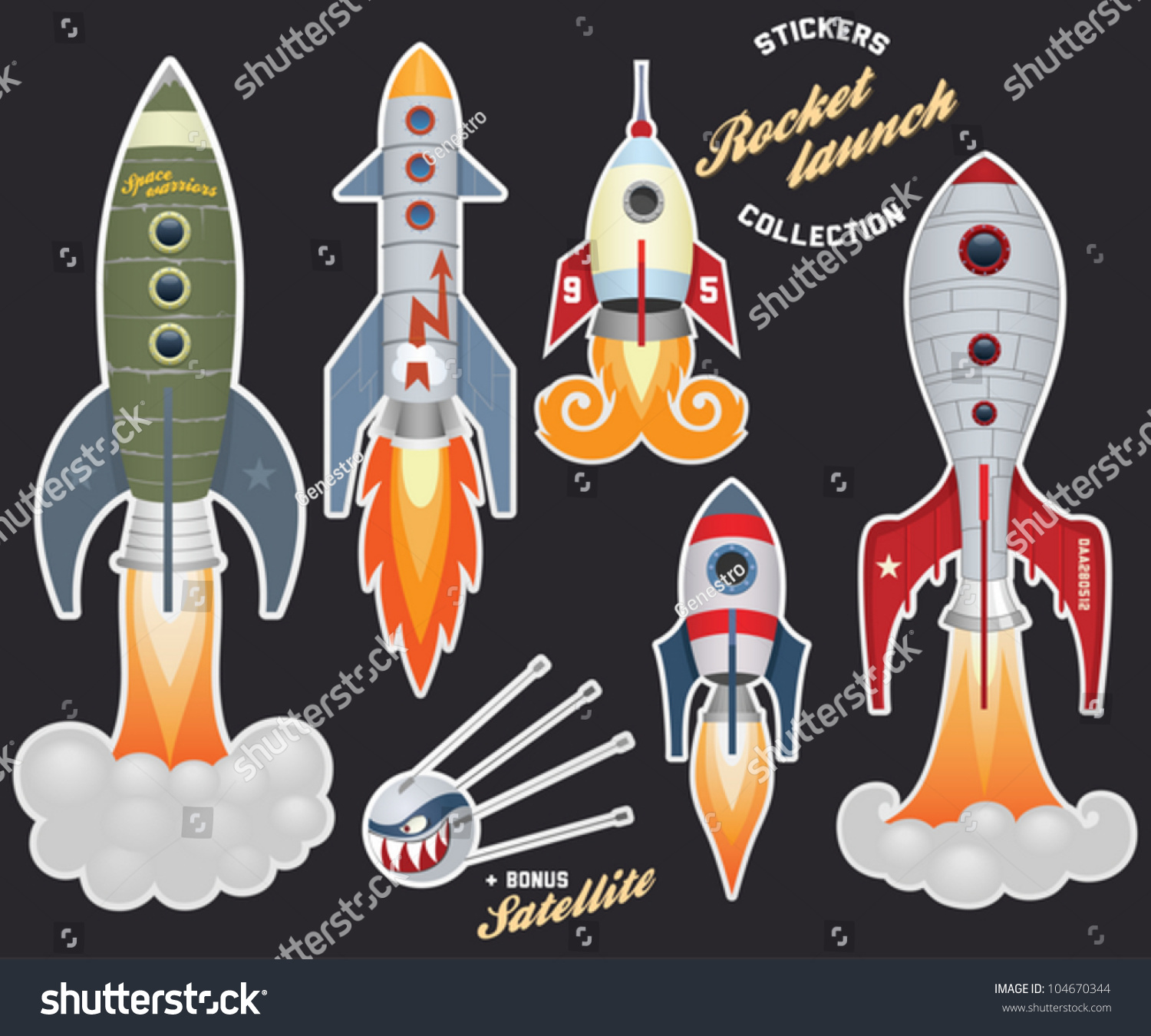rocket launch stickers collection stock vector illustration 104670344 shutterstock. Black Bedroom Furniture Sets. Home Design Ideas