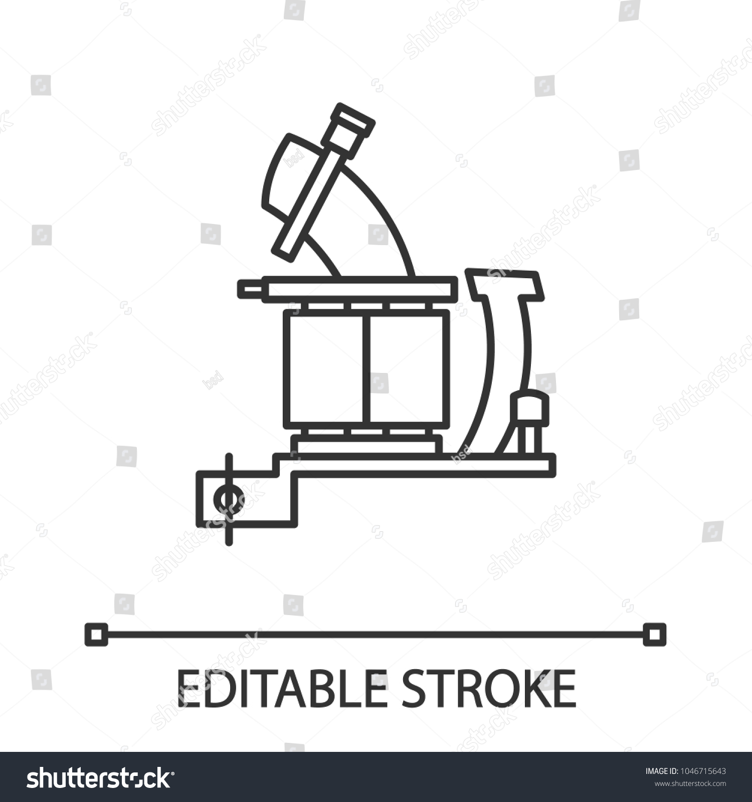 Tattoo Machine Frame Coils Linear Icon Stock Vector Royalty Free Coil Gun Diagram With Thin Line Illustration Contour