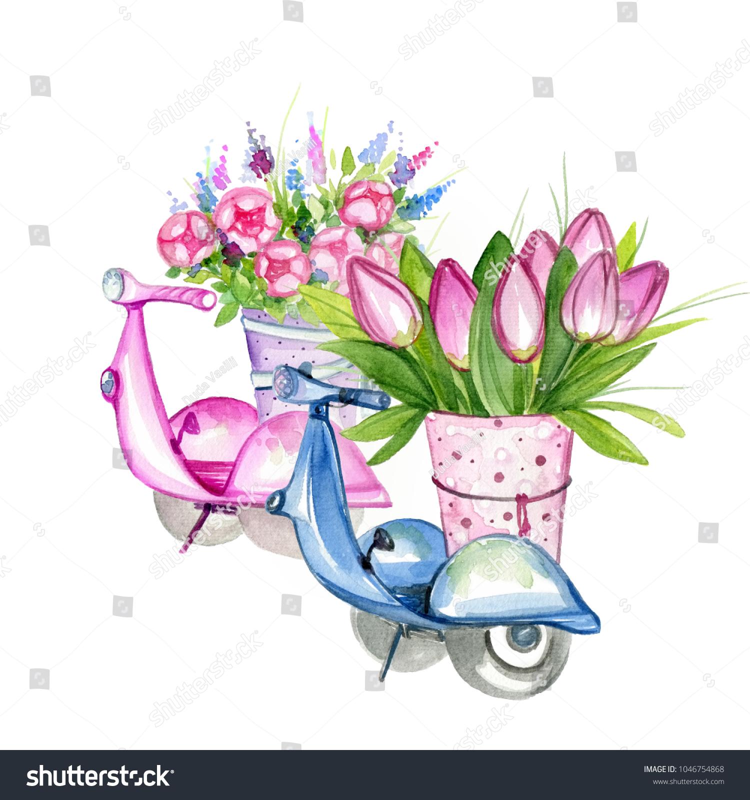 Two Retro Segways Beautiful Bouquets Flowers Stock Illustration ...