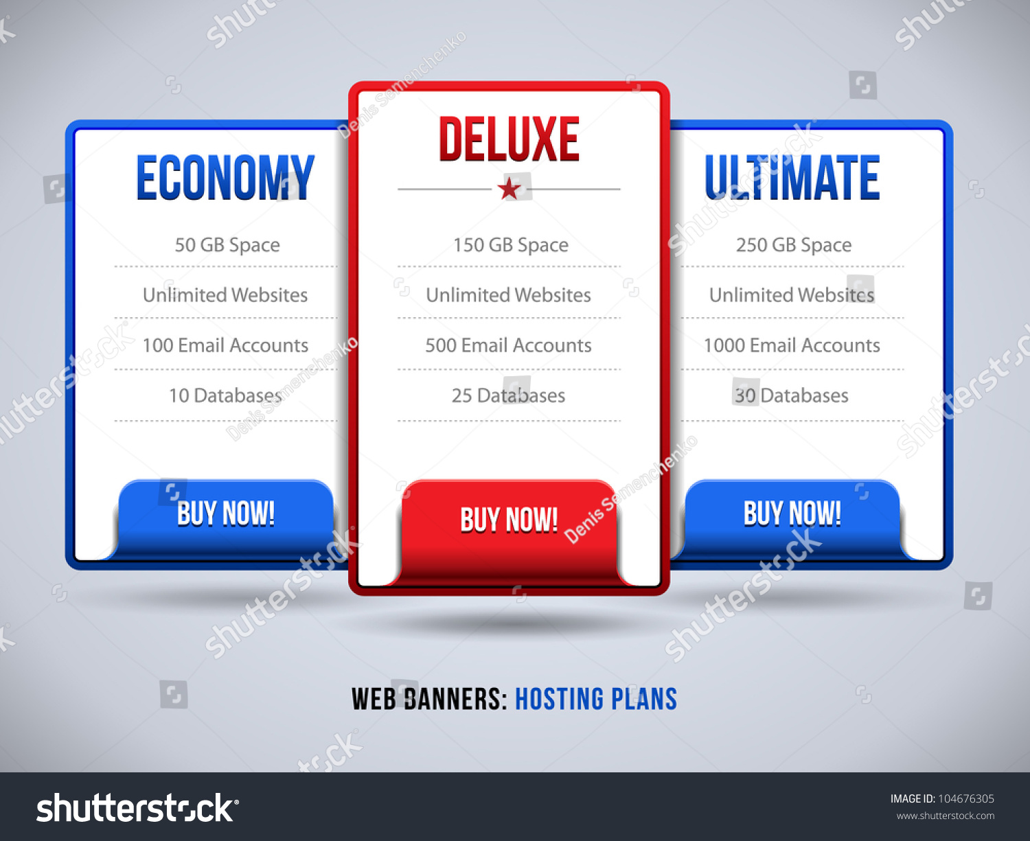 Web Banners Boxes Hosting Plans Pricing Stock Vector 104676305 ...