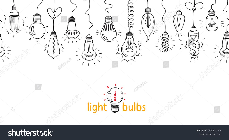 hanging light bulbs horizontal vector seamless stock vector royalty
