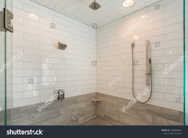 Steam Shower Modern White Subway Tile Stock Photo (Royalty Free ...