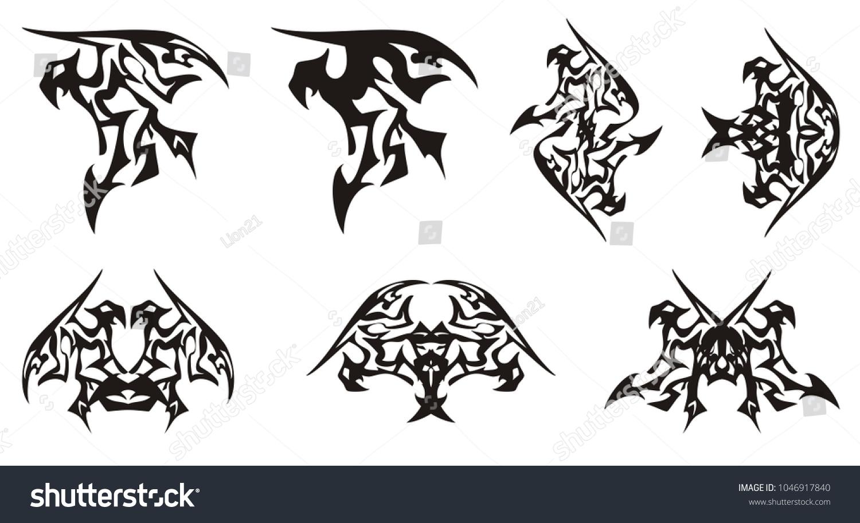 Tribal eagle symbols dragon form eagle stock vector 1046917840 tribal eagle symbols in the dragon form eagle symbol similar to a dragon and buycottarizona Gallery