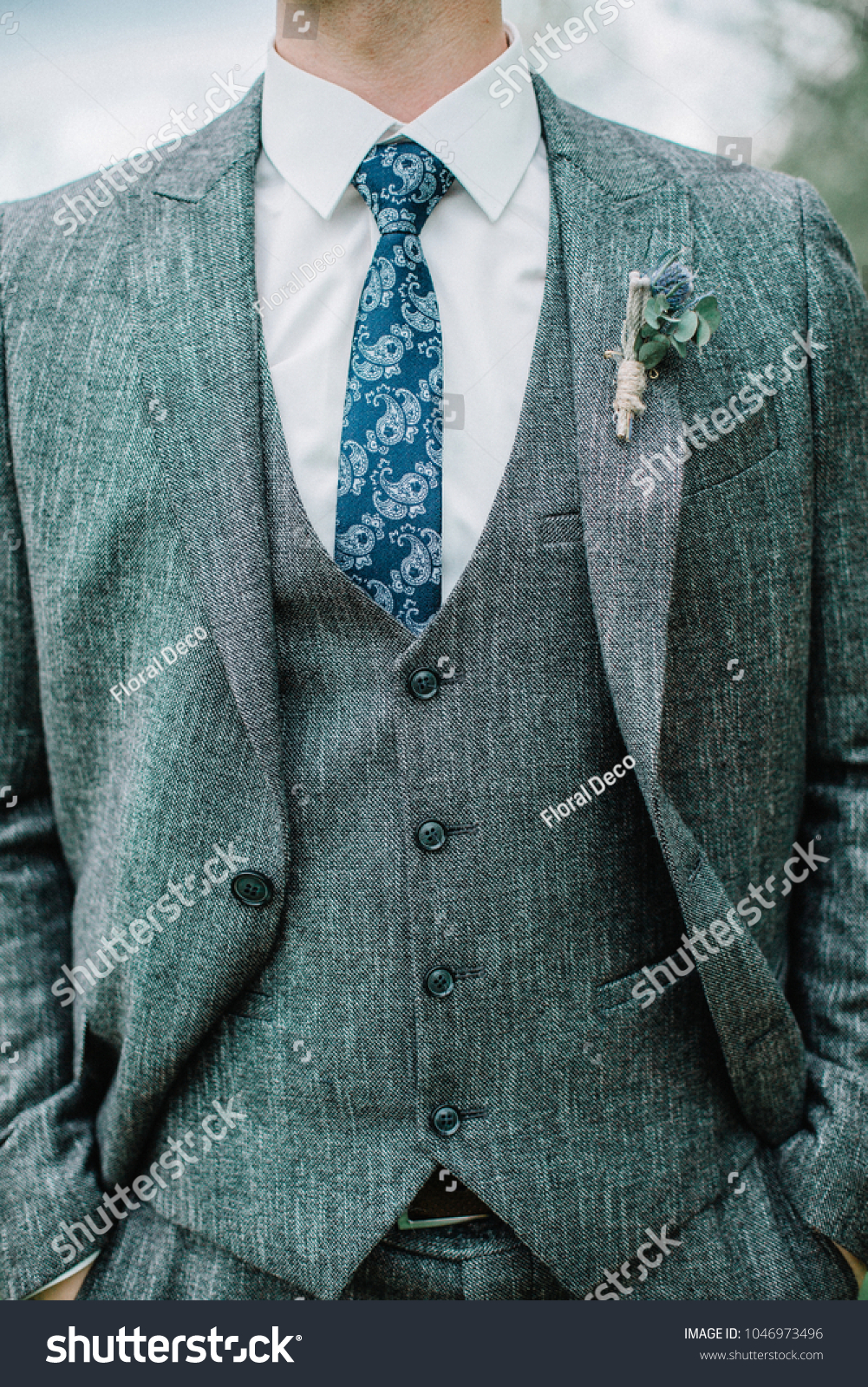 Groom Grey Suit Wedding Fashion Concept Stock Photo 1046973496 ...