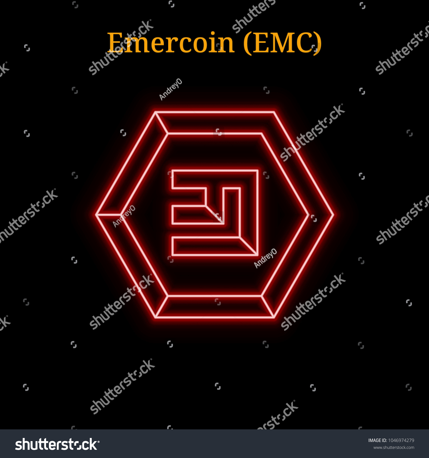 Red Neon Emercoin Emc Cryptocurrency Symbol Stock Vector Royalty