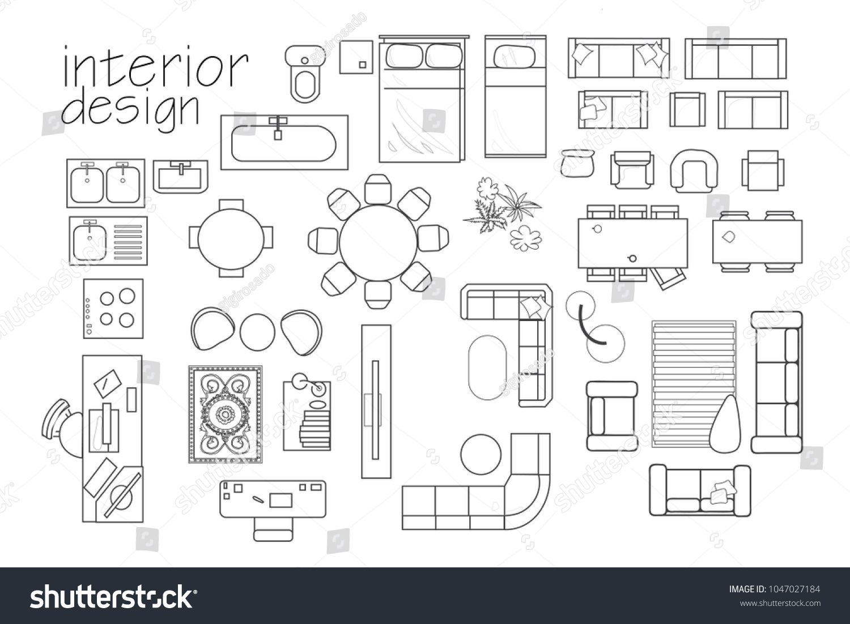 Interior Design Floor Plan Symbols Top Stock Vector 1047027184