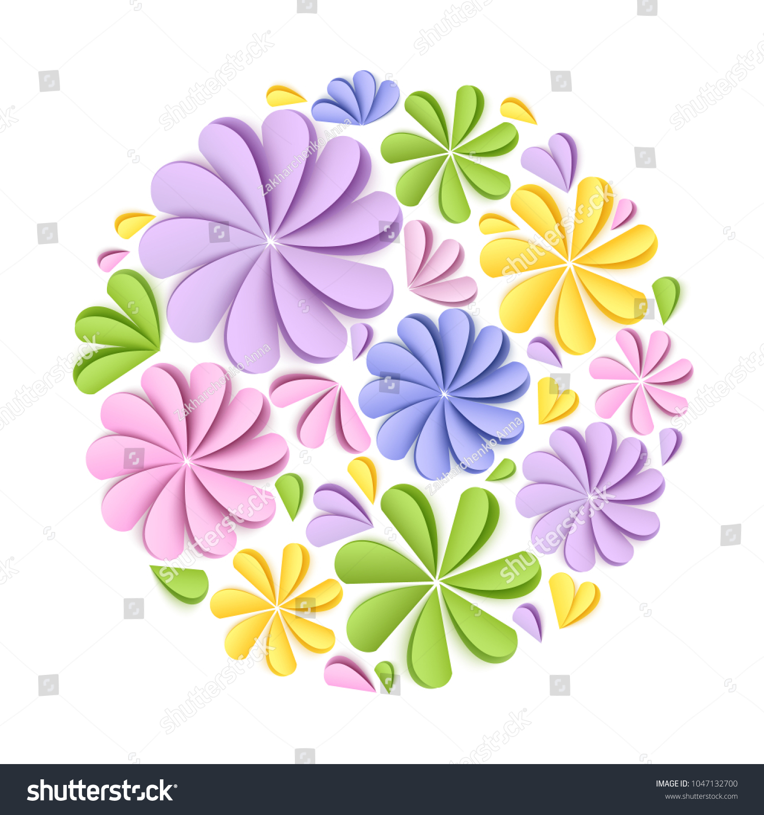 Composition Paper Flowers Birthday Wedding Greeting Stock Vector
