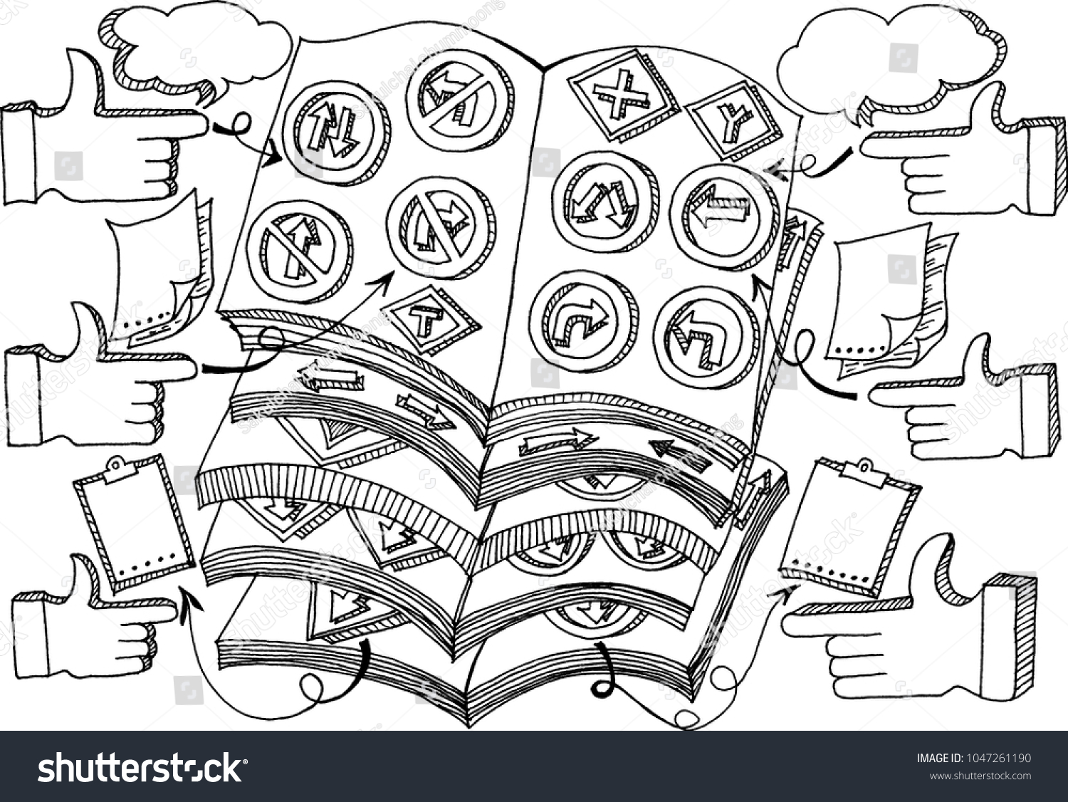Vector Drawing Road Sign Traffic Books Stock Vector 1047261190 ...