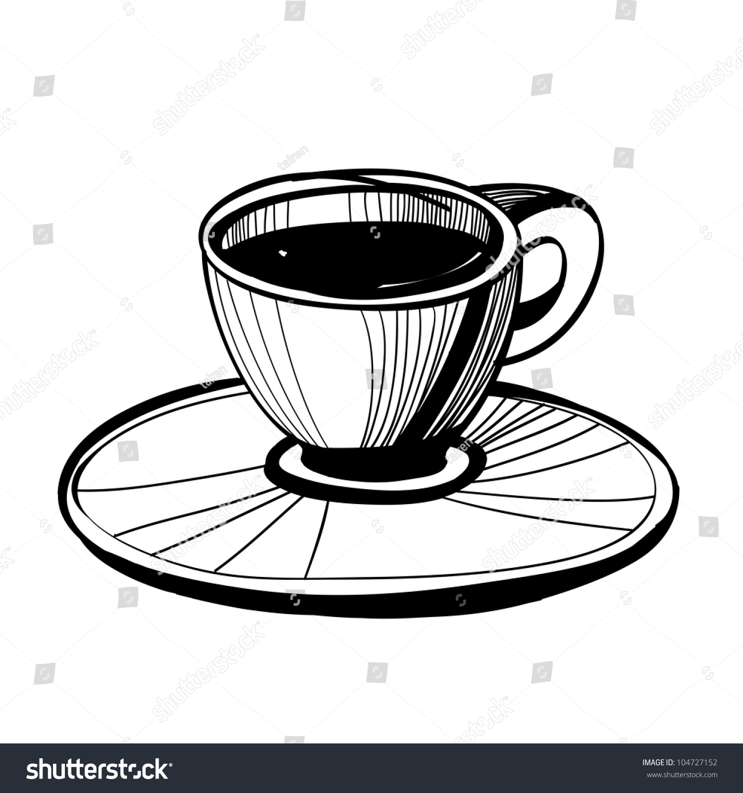 Coffee cup sketch - Black And White Simple Sketch Of A Coffee Cup With Saucer
