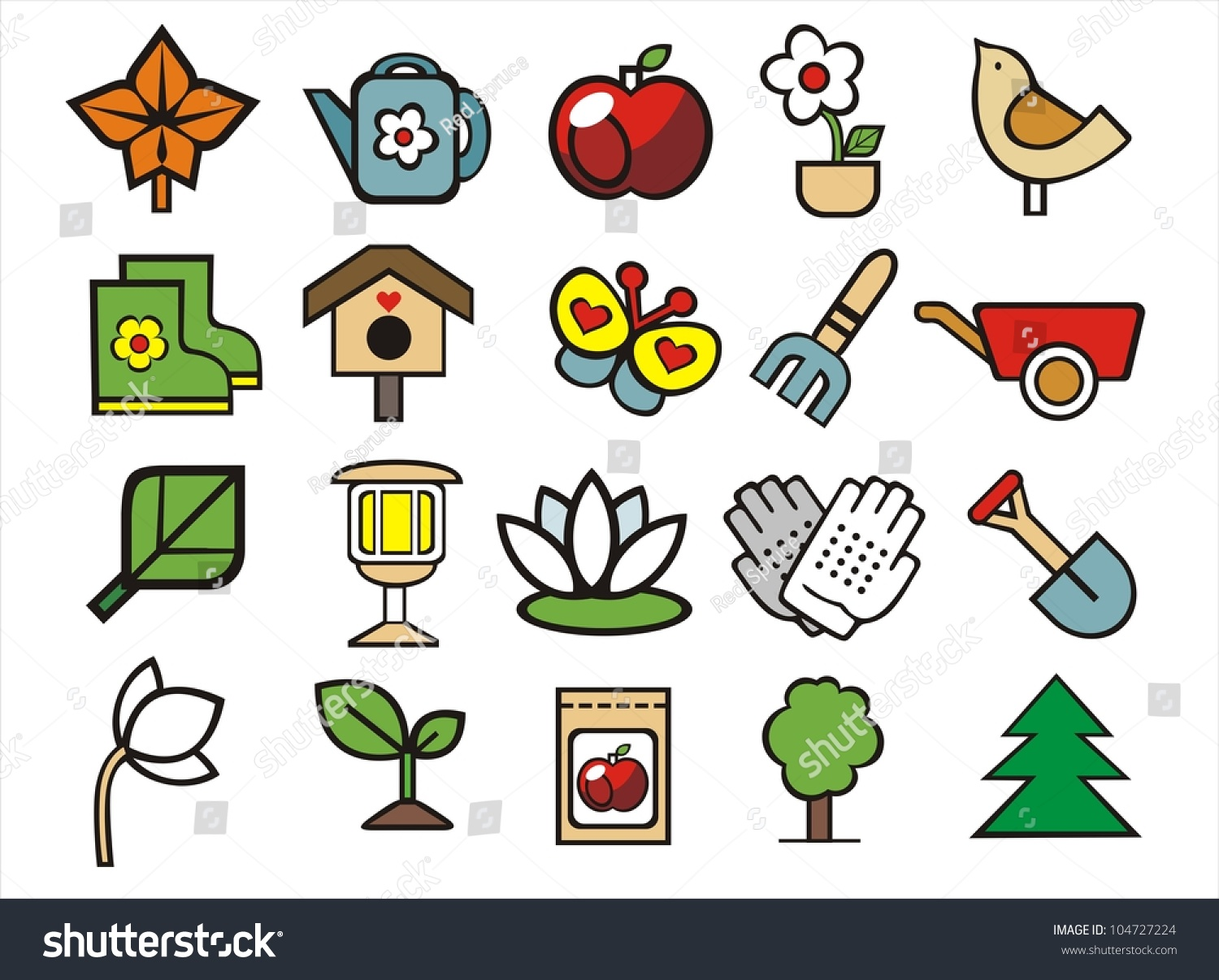 20 gardening and landscape design doodle icons set stock for Landscape design icons