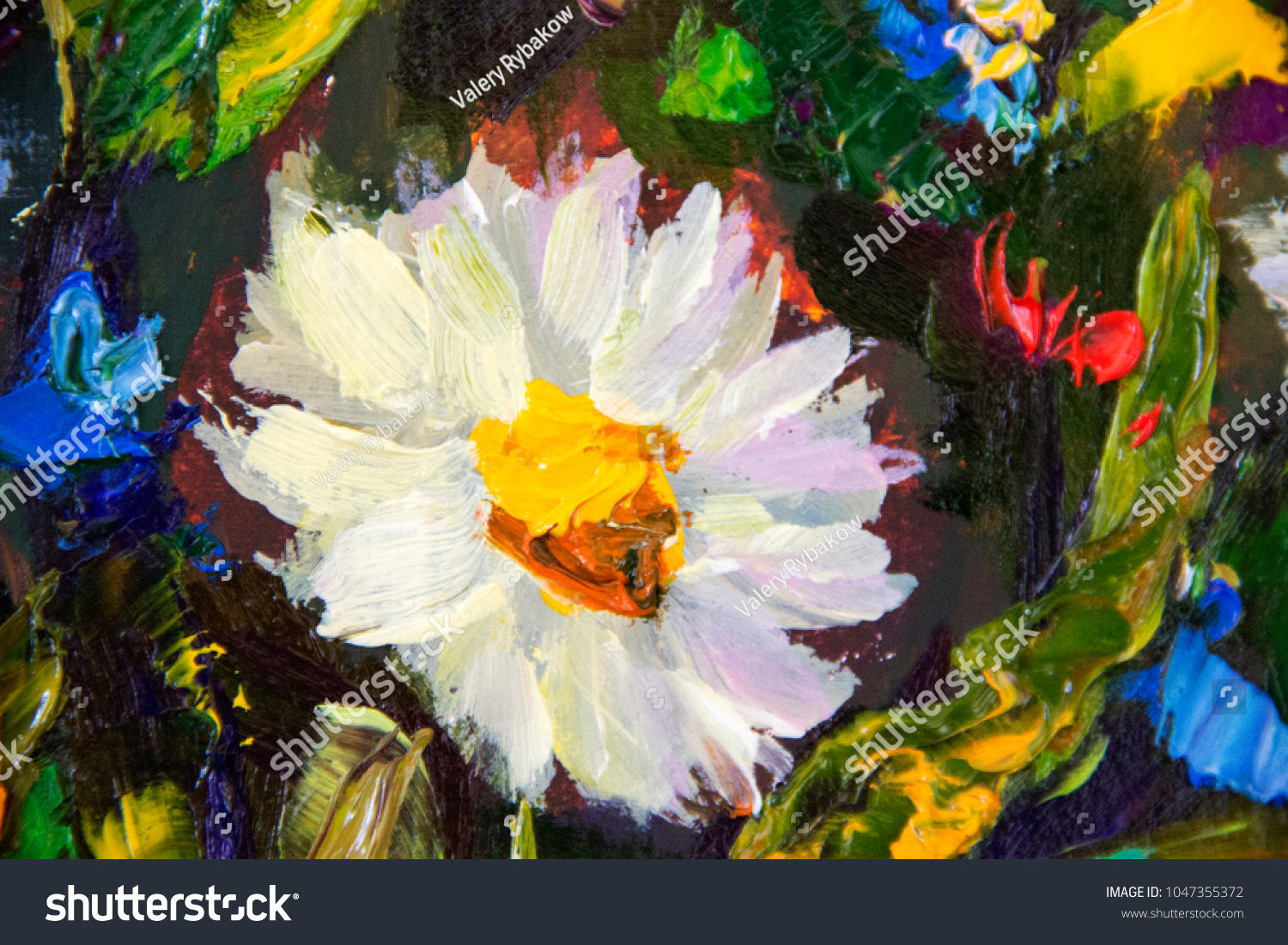 White Flowers Meadow Macro Enlarged Fragment Stock Illustration