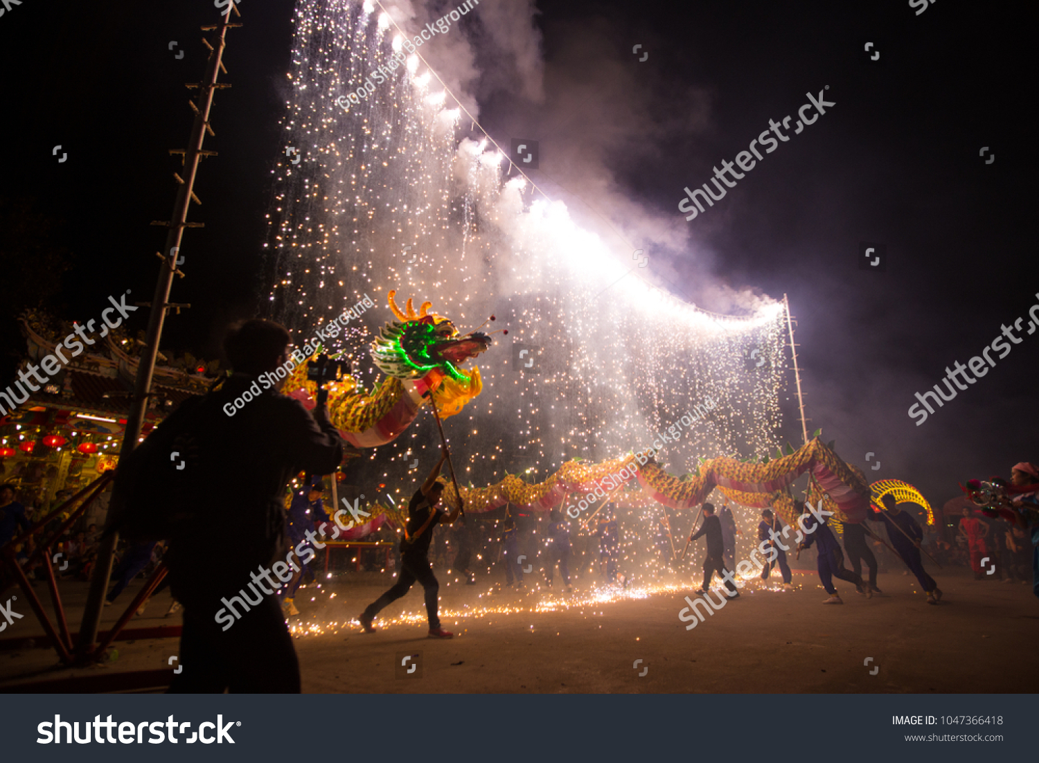 udonthani thailand january 2017 dragon dance stock photo royalty