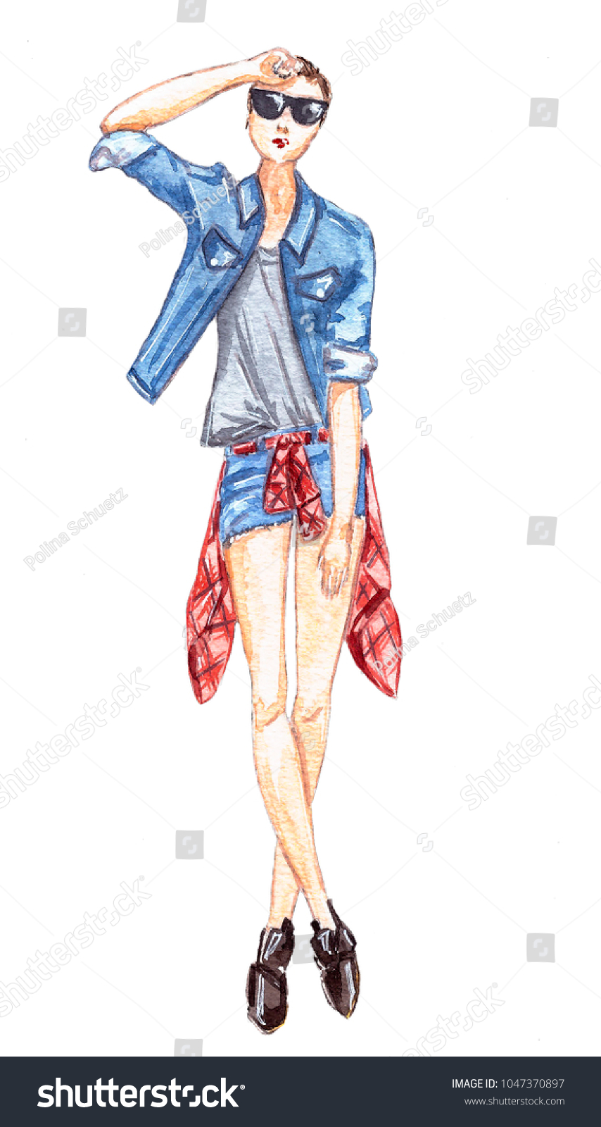 Girl Jeans Jacket Stock Illustration 1047370897 Shutterstock