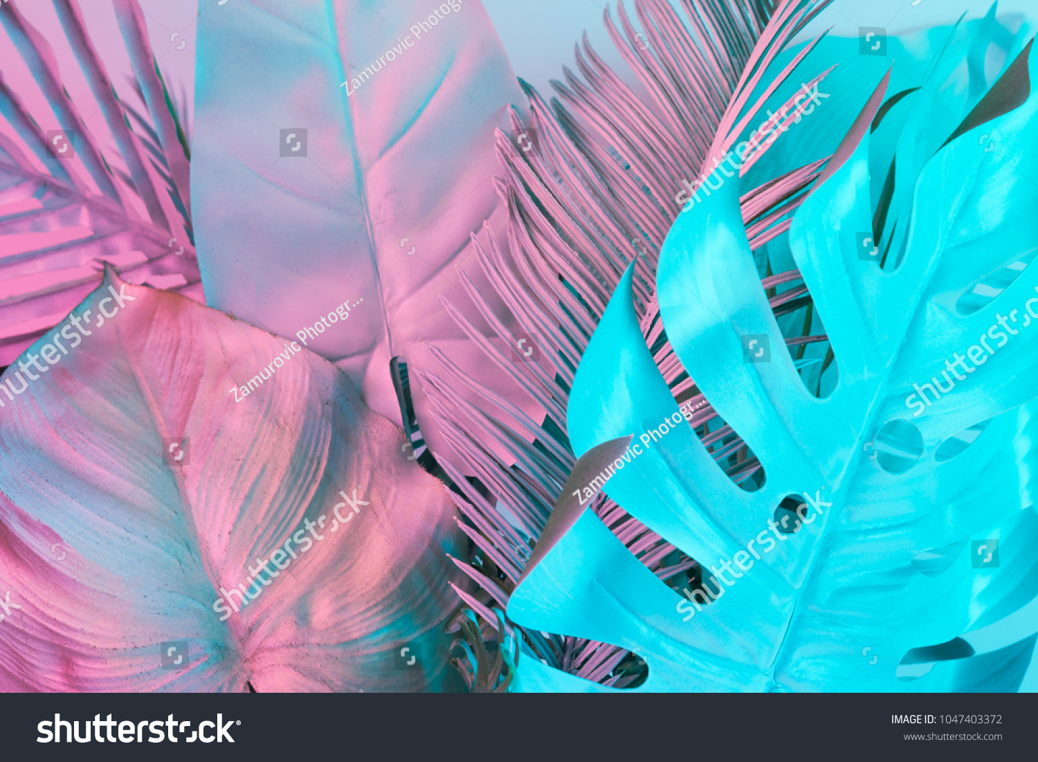 Tropical and palm leaves in vibrant bold gradient holographic colors. Concept art. Minimal surrealism. #1047403372