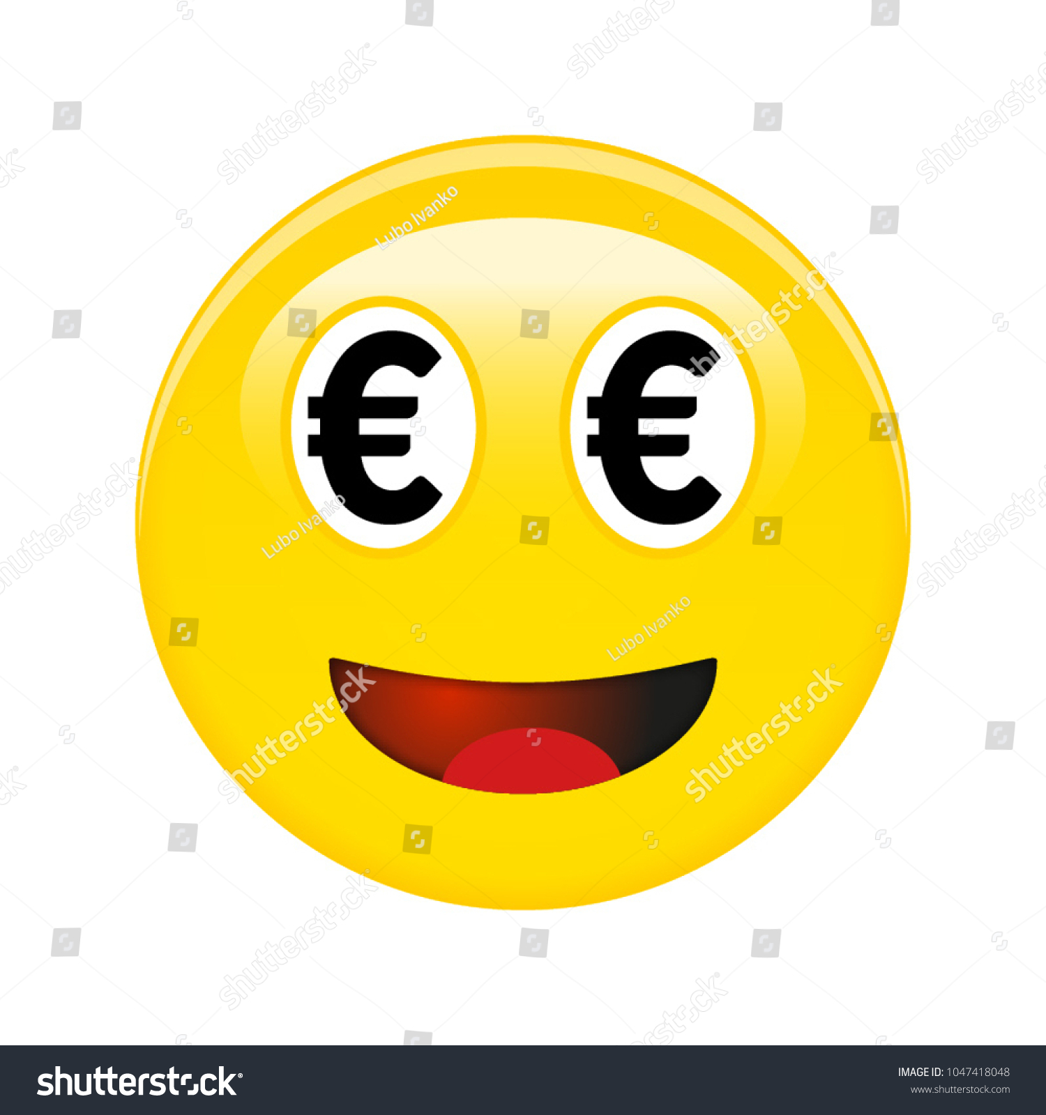 Euro Smiley Emoticon Yellow Laughing 3 D Stock Vector 2018