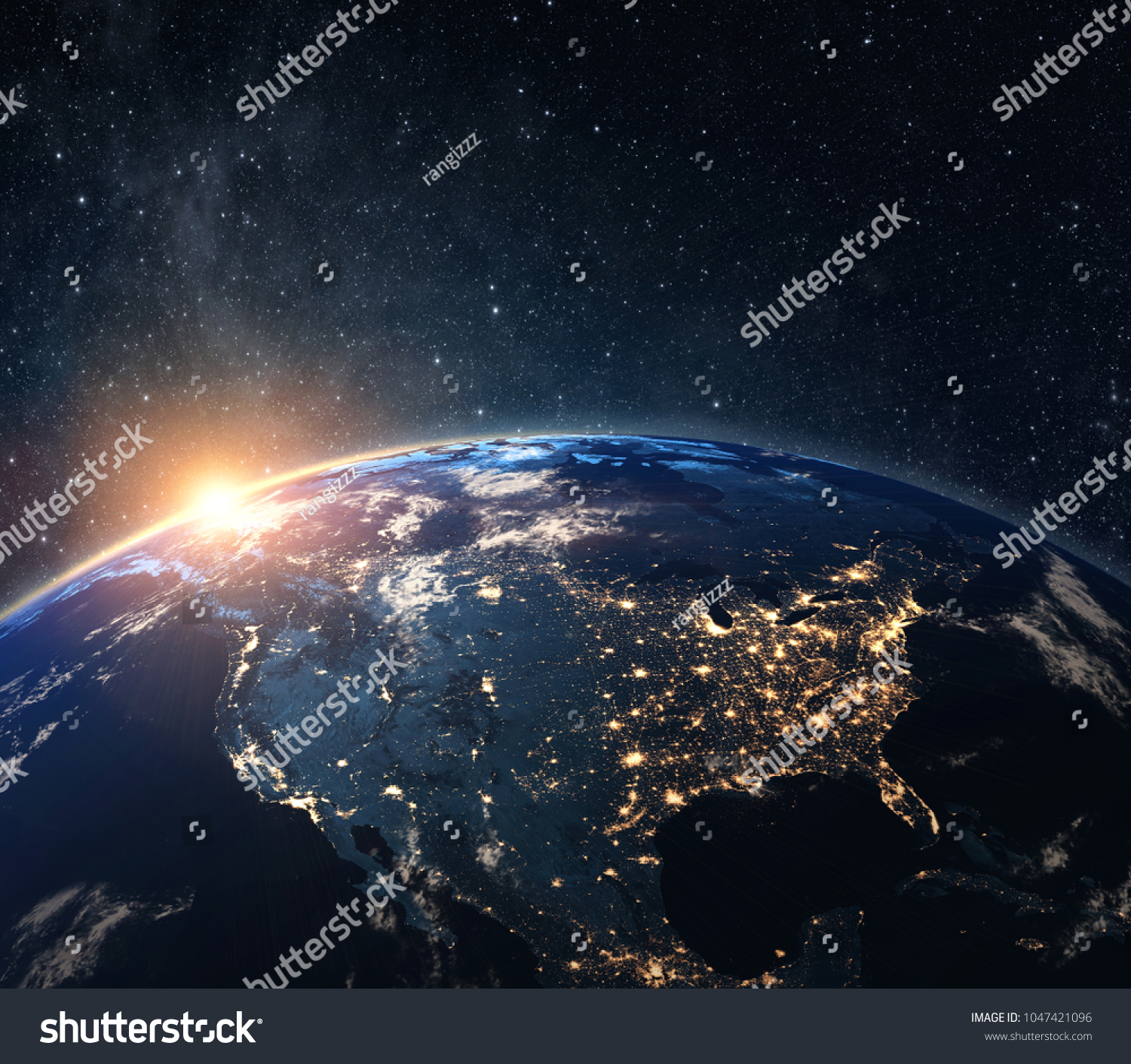Planet earth from the space at night . Some elements of this image furnished by NASA #1047421096
