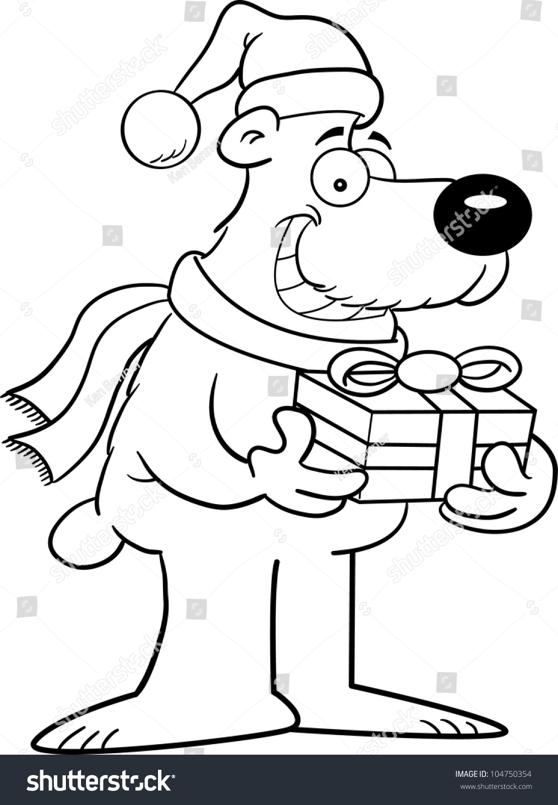Cartoon Illustration Polar Bear Coloring Page Stock Illustration ...