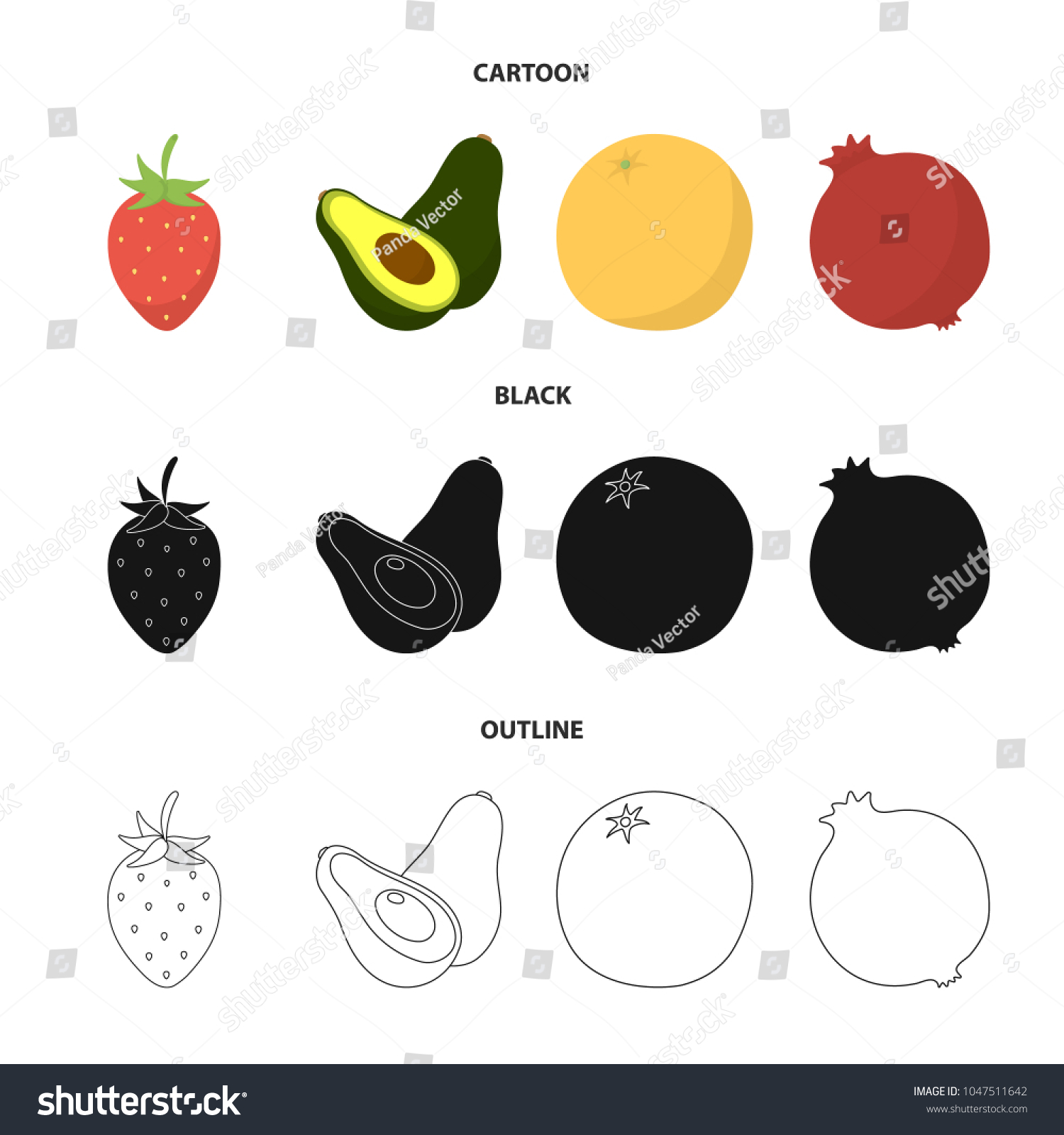Strawberry Berry Avocado Orange Pomegranate Fruits Set Stock Vector Plant Diagram Pomegranatefruits Collection Icons In Cartoon