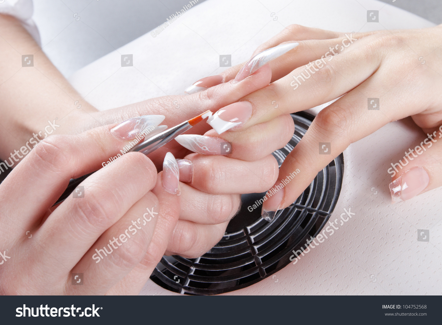 Manicure Master Make Nail Extension Drawing Stock Photo (Safe to Use ...