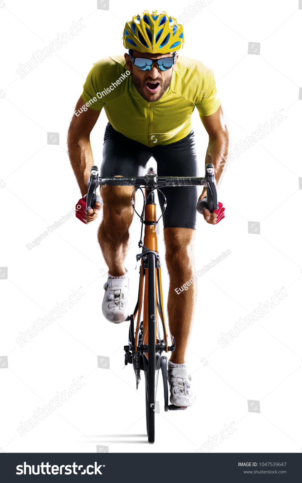 Professinal road bicycle racer isolated in motion on white #1047539647