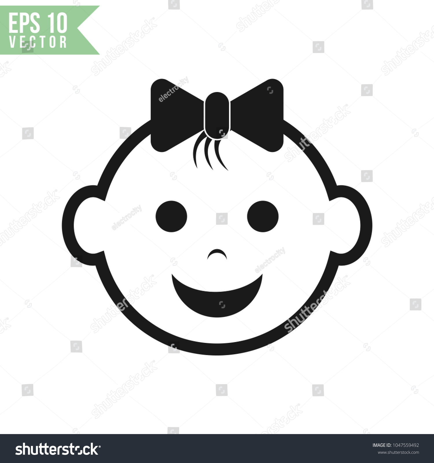 baby face icon vector template stock vector royalty free