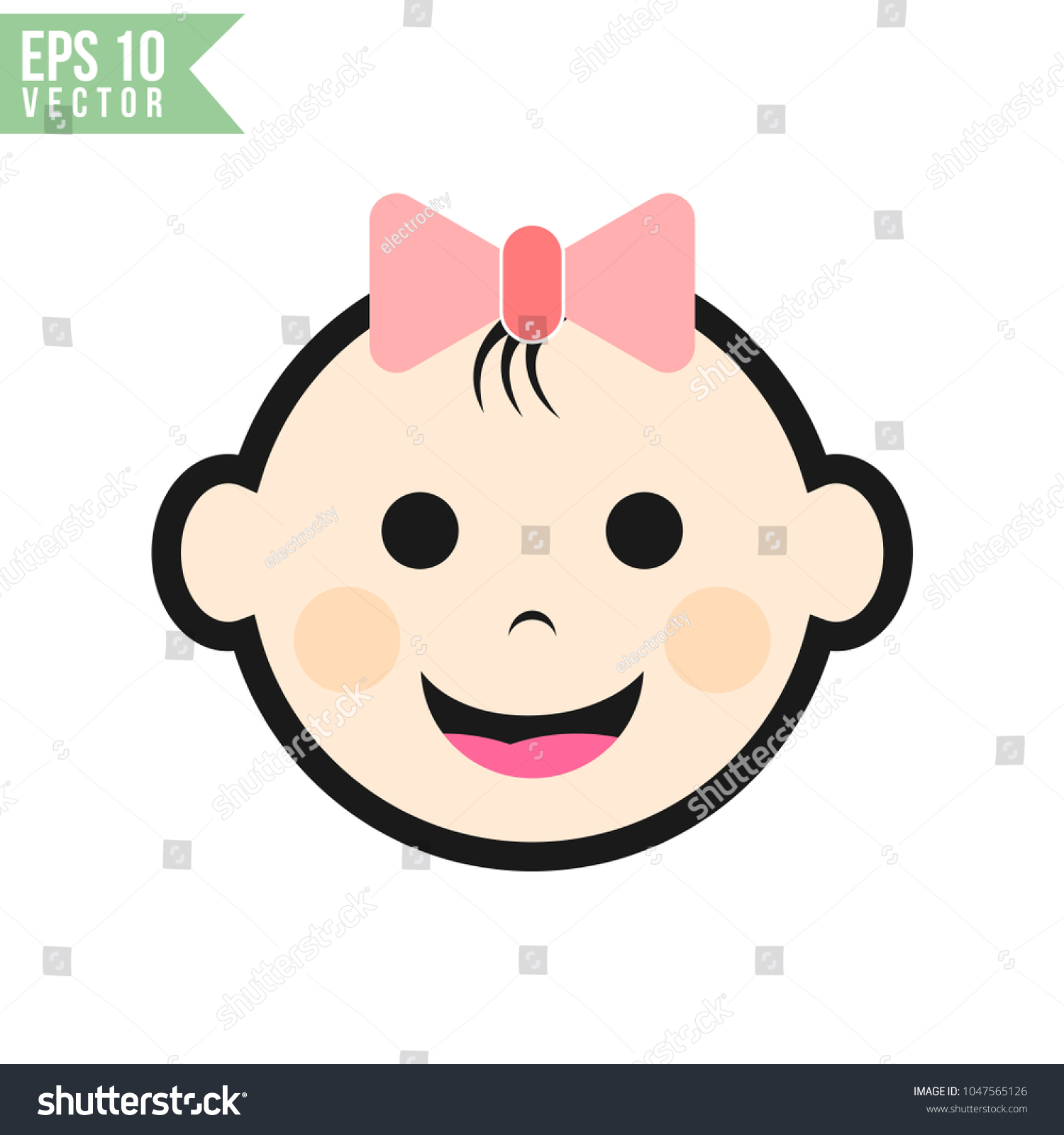 baby face flat icon vector template stock vector royalty free